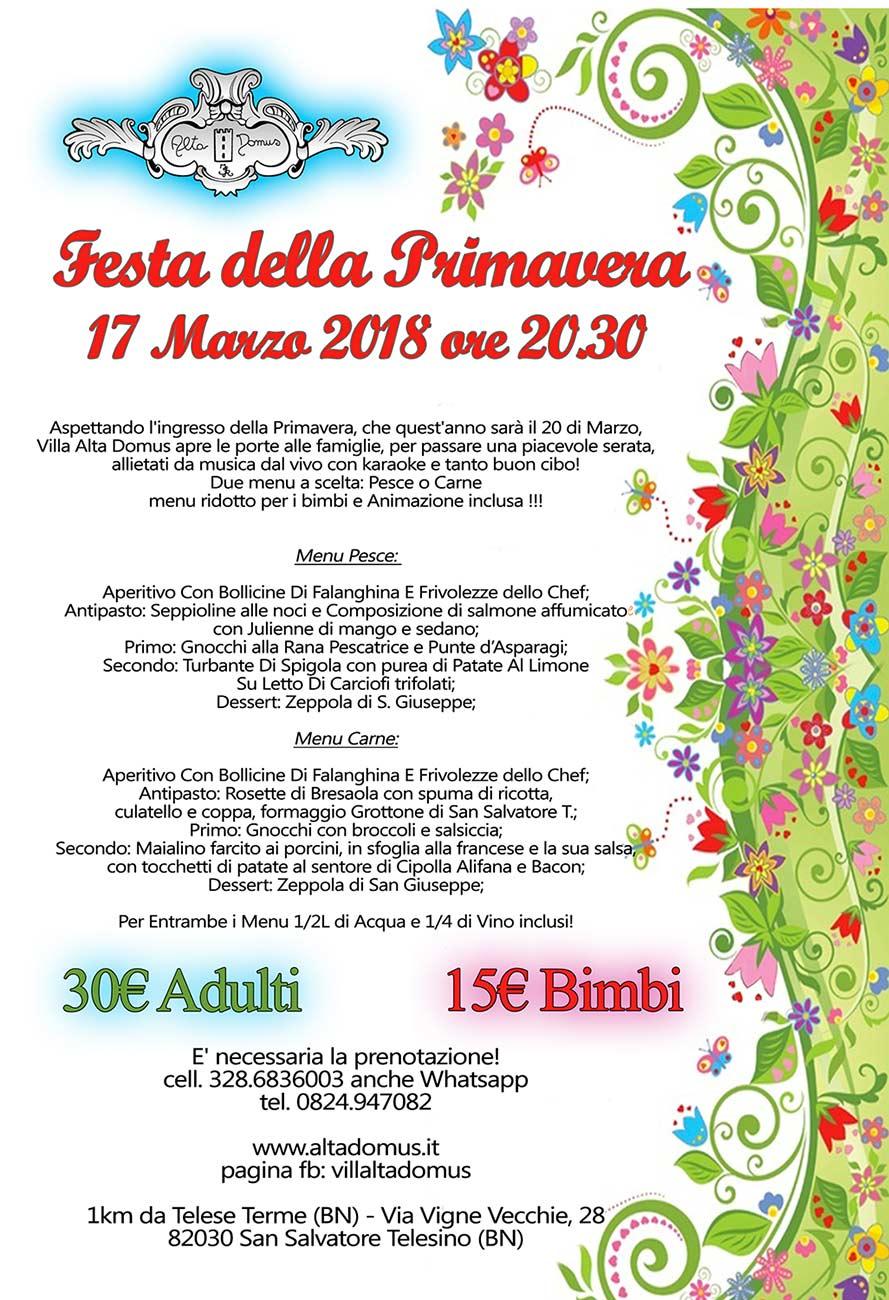 locandina per la festa di primavera sabato 17 Marzo
